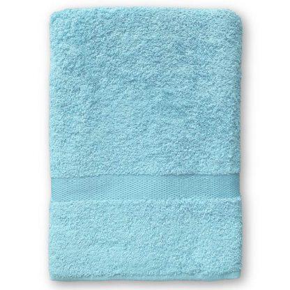 Lichtblauw Handdoek met Naam en Geborduurd Figuurtje