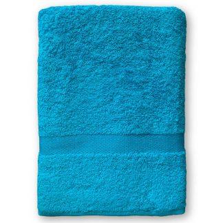 Turquoise Handdoek met Naam en Geborduurd Figuurtje
