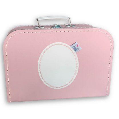 Roze Koffertje met Naam en Geborduurd Figuurtje