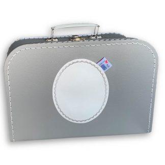 Zilverkleurig Koffertje met Naam en Geborduurd Figuurtje